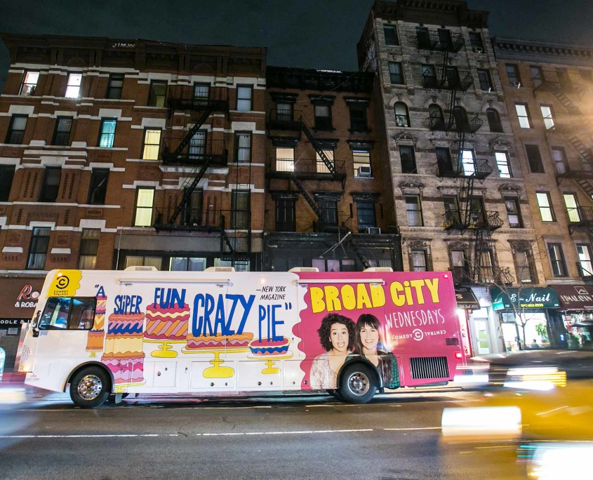 Comedy Central's Broad City RV driving through New York City streets.