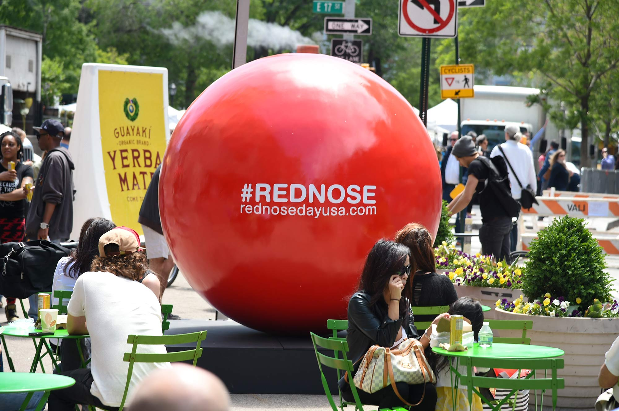 One of 5 larger-than-life Red Nose statues made for an unmistakeable sight in Union Square.