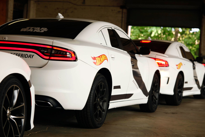 The Stormtrooper Dodge SRT's head off to New York City to pick up Uber passengers on Hot Wheels Force Friday.