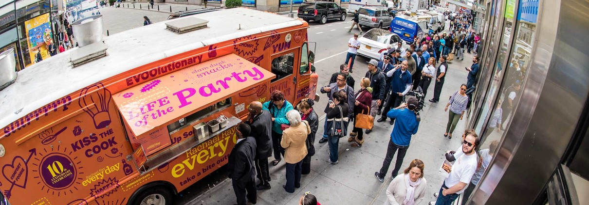 The line stretched down the block across from New York City's Rockefeller Center, as excited guests waiting for a burger from the Rachel Ray Every Day food truck.