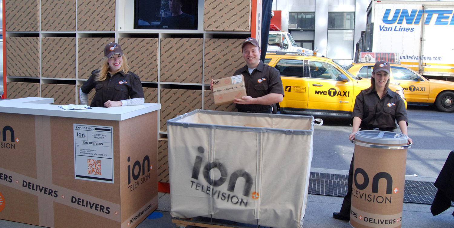 A team of Brand Ambassadors poses during an Agency Activation for ION Television.