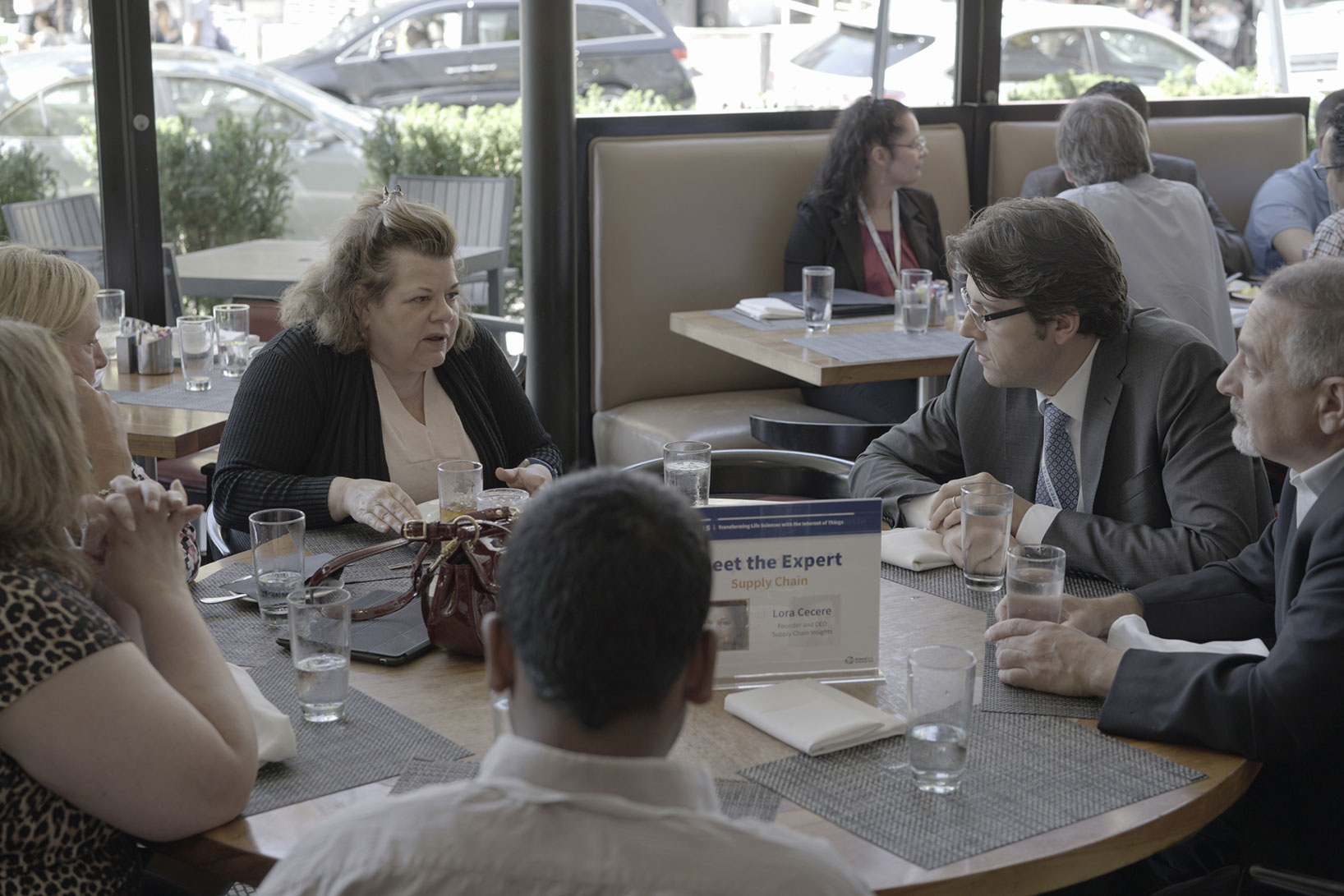 Lora Cecere engages with the other attendees at her table during the Meet the Experts lunch at TraceLink's NEXUS '15.